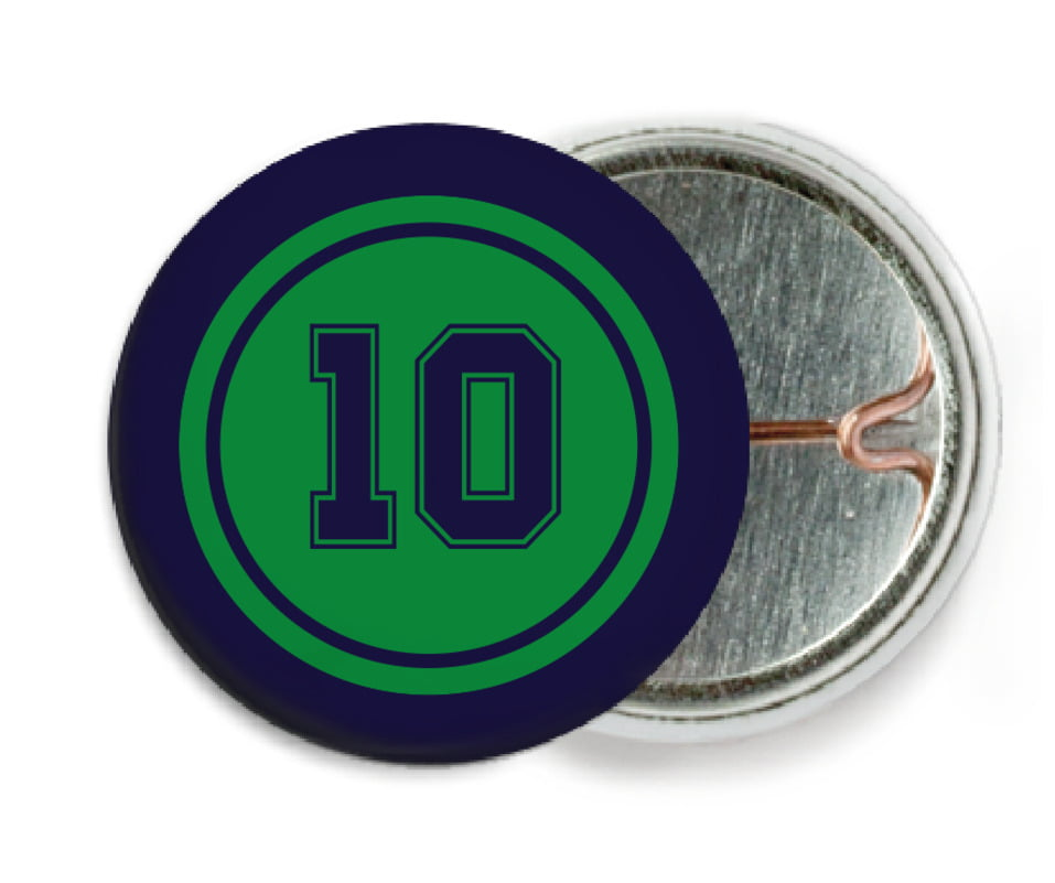 custom pin back buttons - green & navy - football (set of 6)