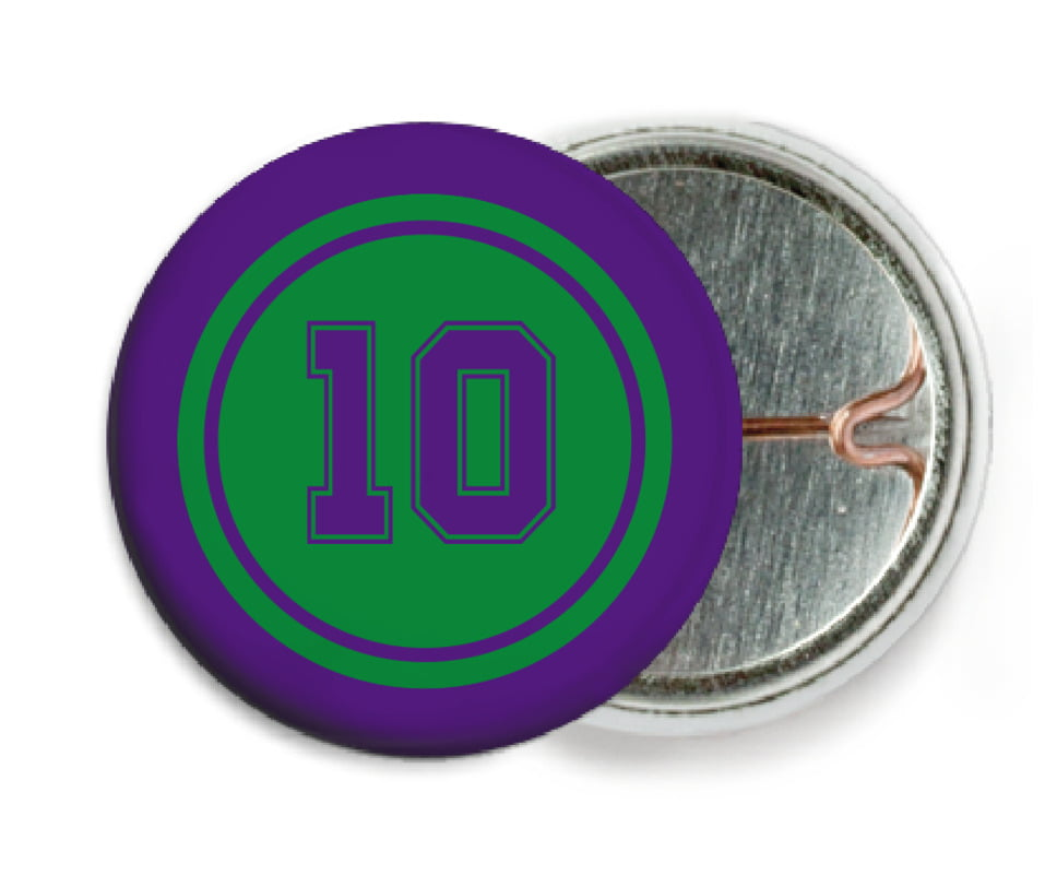 custom pin back buttons - green & purple - football (set of 6)