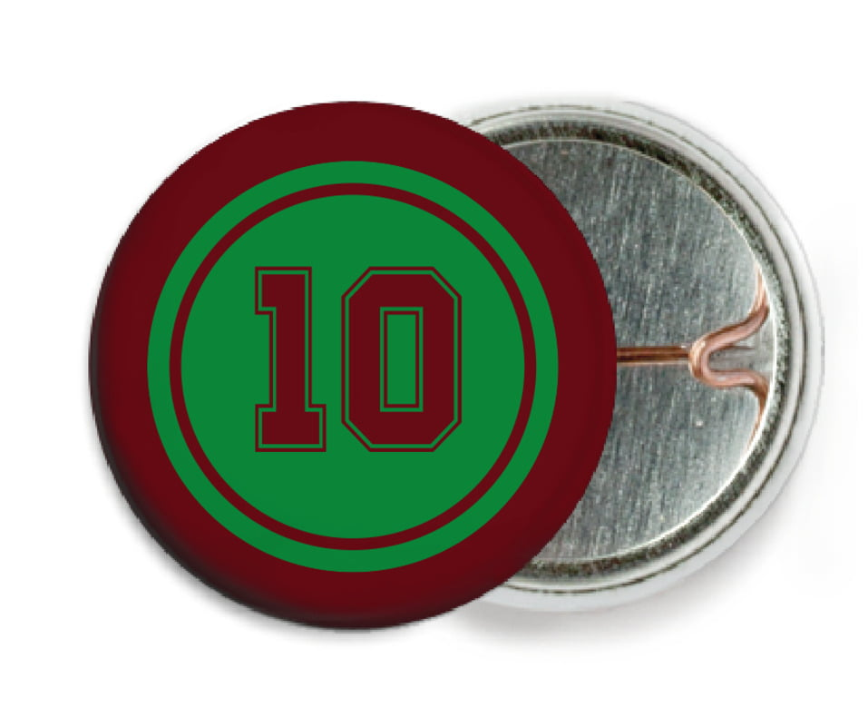 custom pin back buttons - green & maroon - football (set of 6)