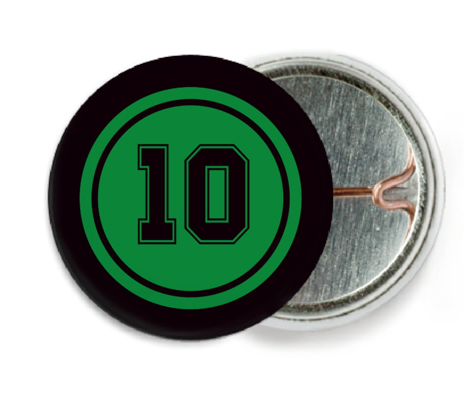 custom pin back buttons - green & black - football (set of 6)