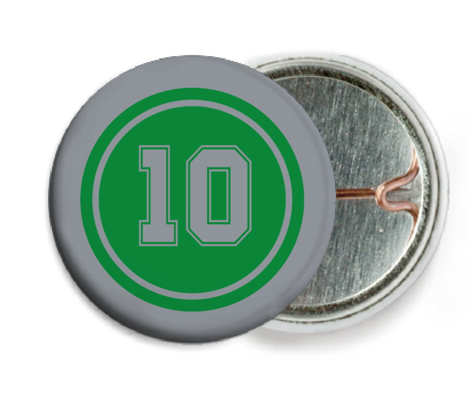 custom pin back buttons - green & silver - football (set of 6)