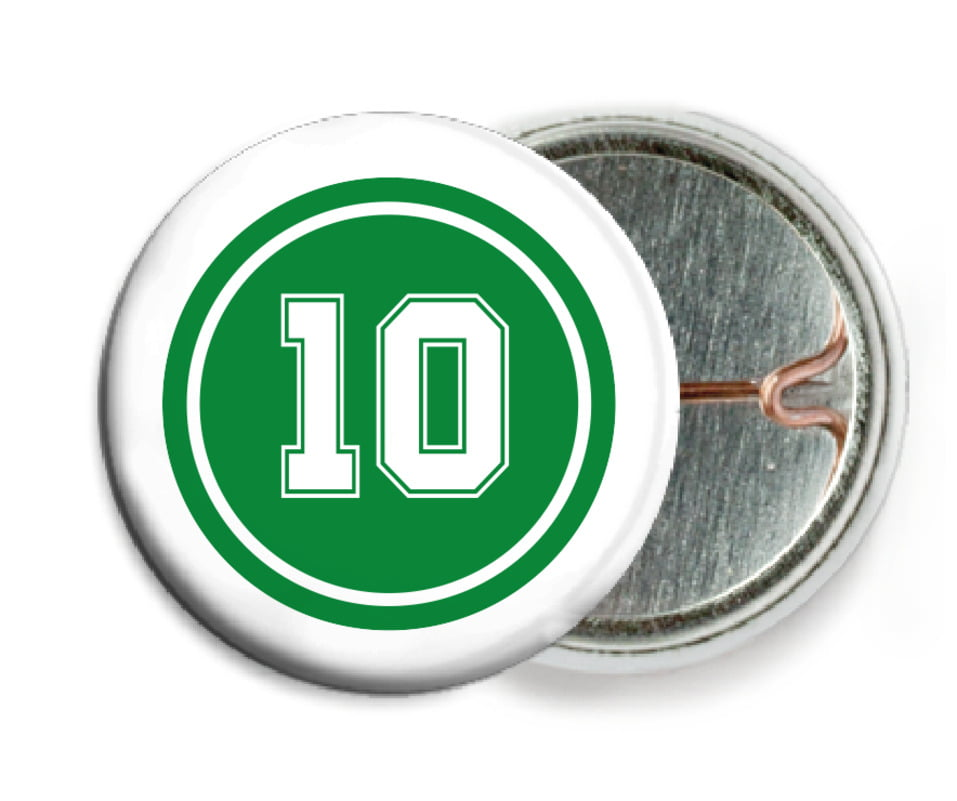 custom pin back buttons - green & white - football (set of 6)