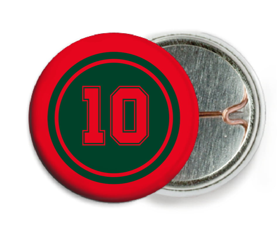 custom pin back buttons - forest & red - football (set of 6)