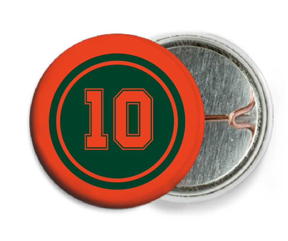 custom pin back buttons - forest & orange - football (set of 6)