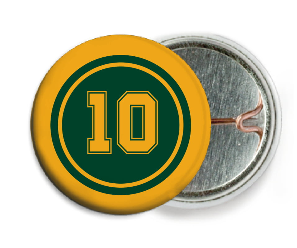 custom pin back buttons - forest & gold - football (set of 6)