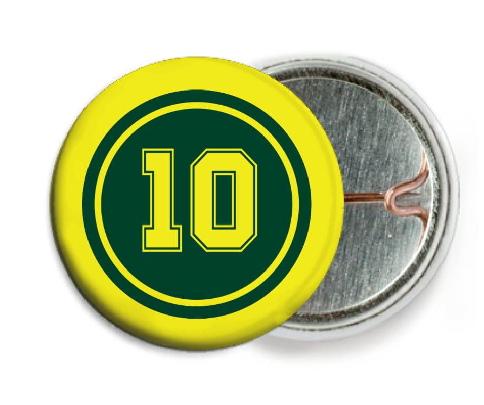 custom pin back buttons - forest & yellow - football (set of 6)