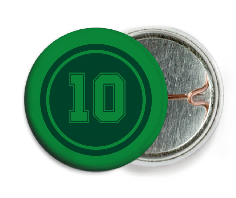 custom pin back buttons - forest & green - football (set of 6)