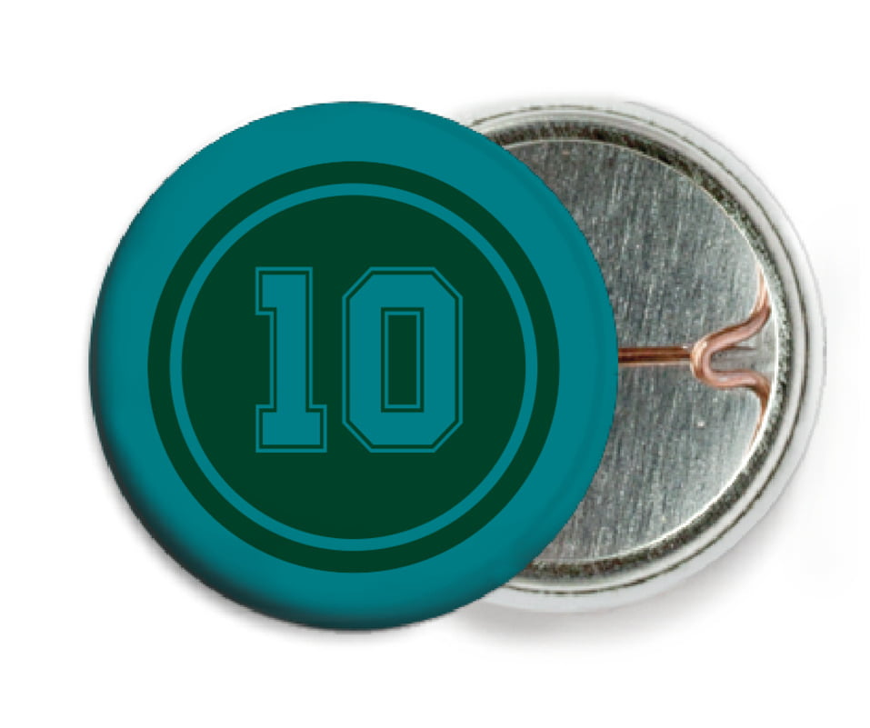 custom pin back buttons - forest & teal - football (set of 6)