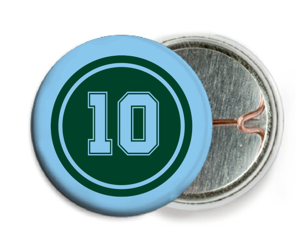 custom pin back buttons - forest & light blue - football (set of 6)
