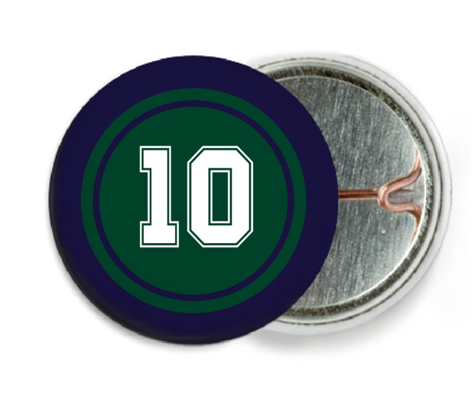 custom pin back buttons - forest & navy - football (set of 6)