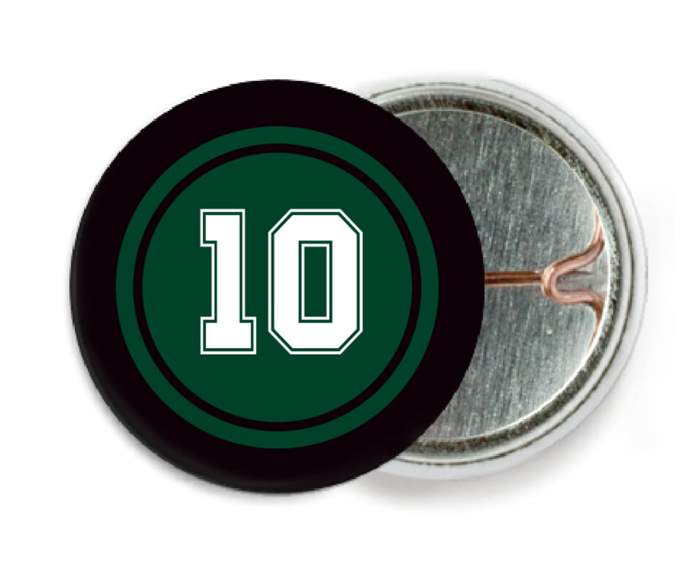 custom pin back buttons - forest & black - football (set of 6)