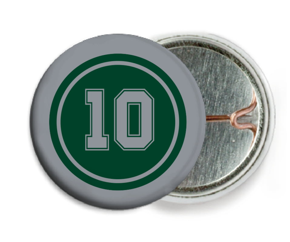 custom pin back buttons - forest & silver - football (set of 6)
