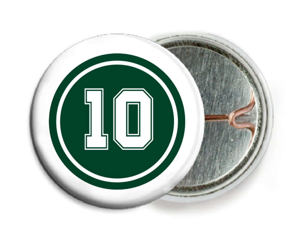 custom pin back buttons - forest & white - football (set of 6)