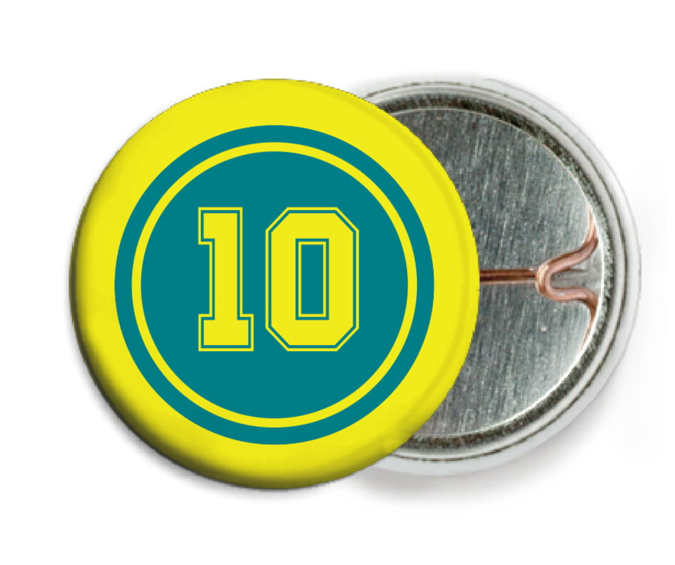 custom pin back buttons - teal & yellow - football (set of 6)