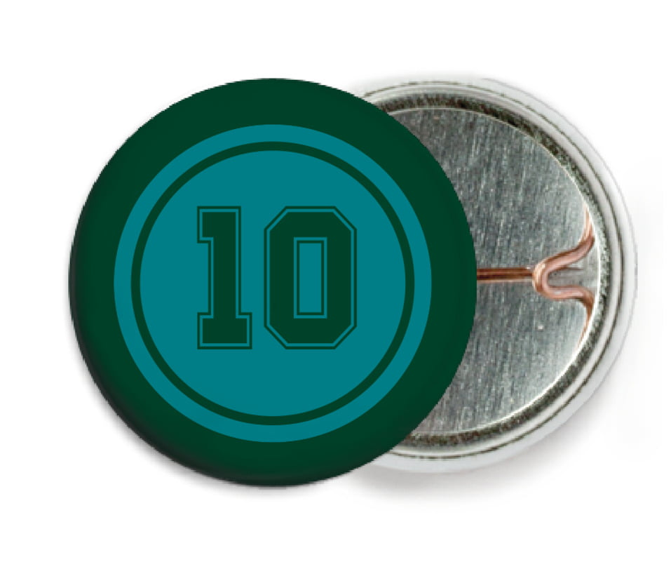 custom pin back buttons - teal & forest - football (set of 6)