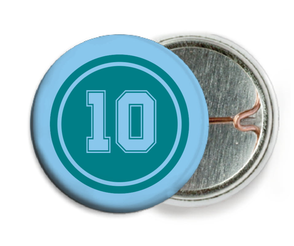 custom pin back buttons - teal & light blue - football (set of 6)