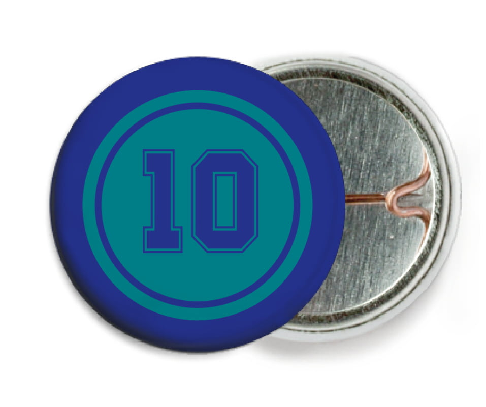 custom pin back buttons - teal & royal - football (set of 6)