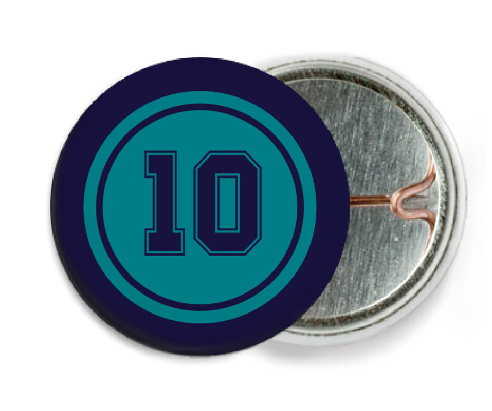 custom pin back buttons - teal & navy - football (set of 6)