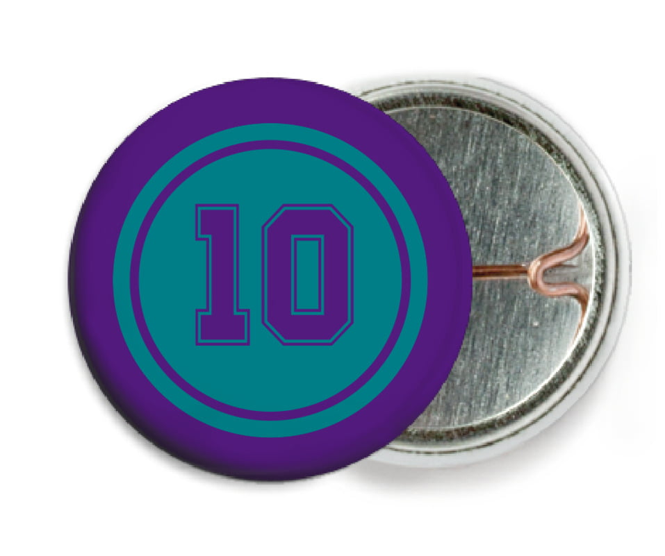 custom pin back buttons - teal & purple - football (set of 6)