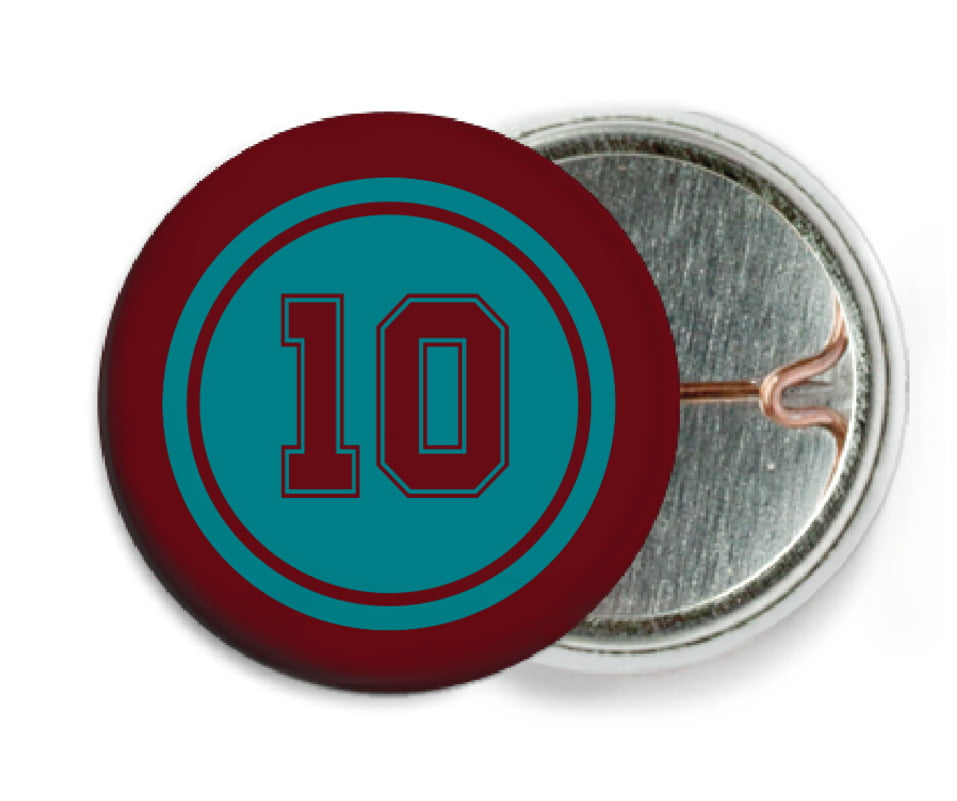 custom pin back buttons - teal & maroon - football (set of 6)