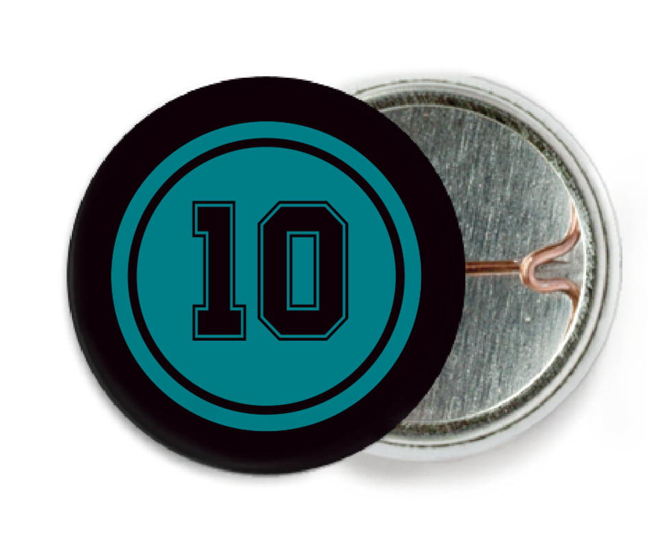 custom pin back buttons - teal & black - football (set of 6)