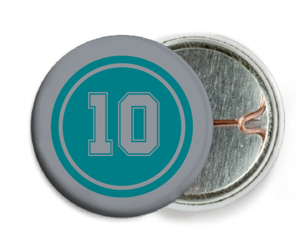 custom pin back buttons - teal & silver - football (set of 6)