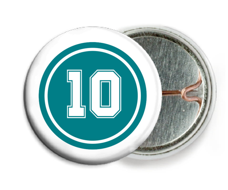 custom pin back buttons - teal & white - football (set of 6)