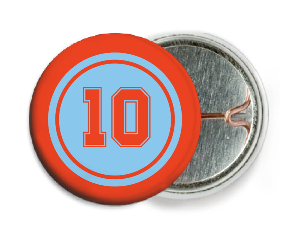 custom pin back buttons - light blue & orange - football (set of 6)
