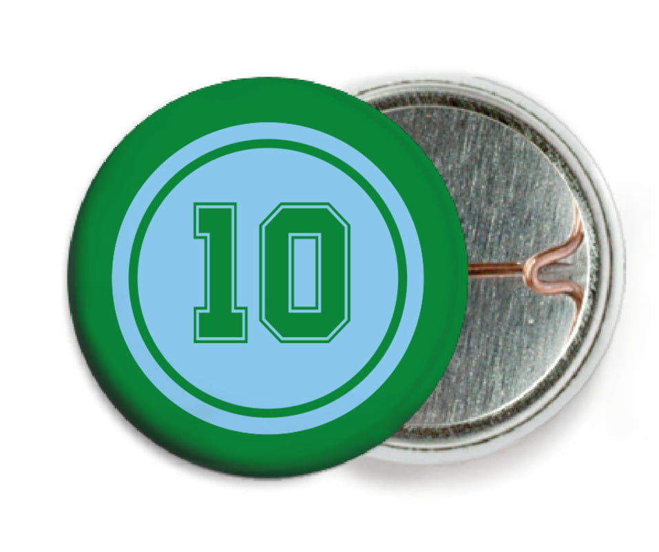 custom pin back buttons - light blue & green - football (set of 6)