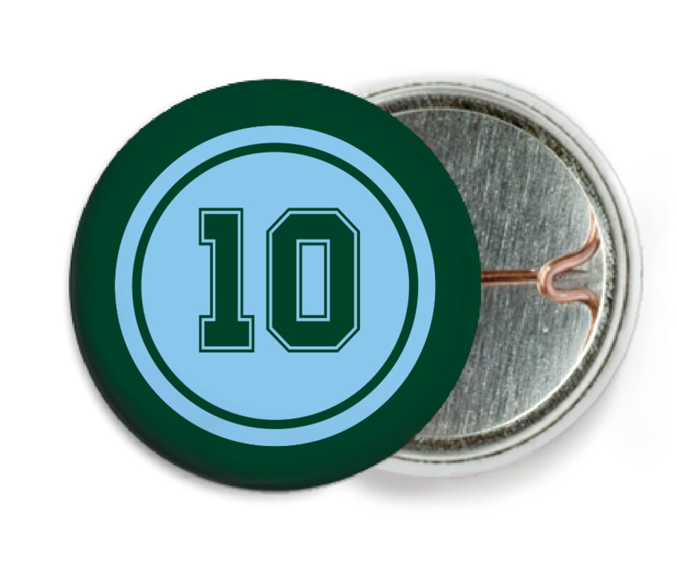 custom pin back buttons - light blue & forest - football (set of 6)