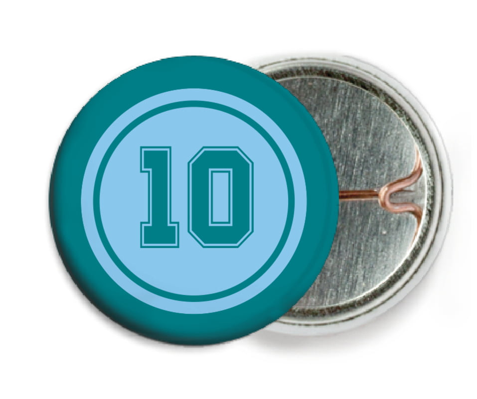 custom pin back buttons - light blue & teal - football (set of 6)