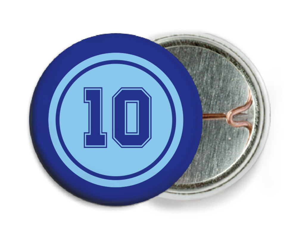 custom pin back buttons - light blue & royal - football (set of 6)