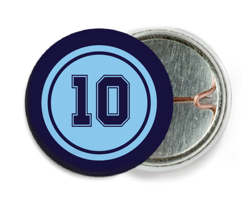custom pin back buttons - light blue & navy - football (set of 6)