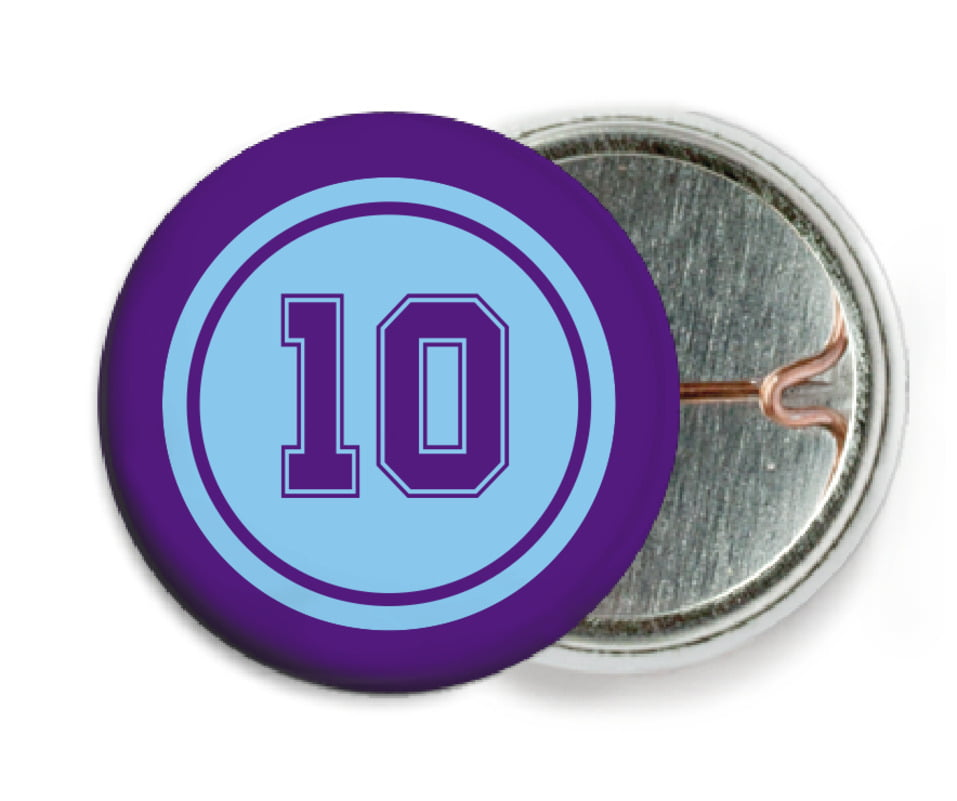 custom pin back buttons - light blue & purple - football (set of 6)