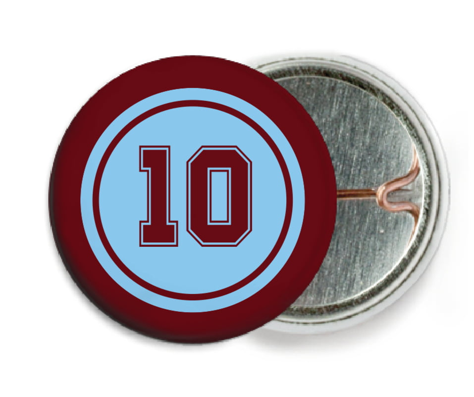 custom pin back buttons - light blue & maroon - football (set of 6)
