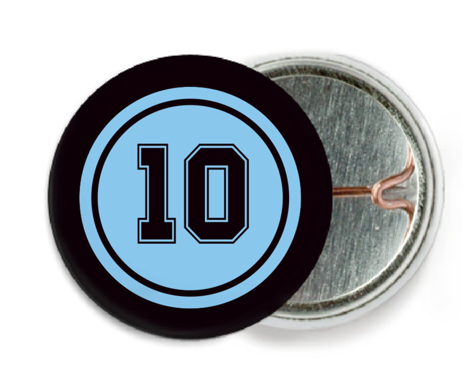 custom pin back buttons - light blue & black - football (set of 6)