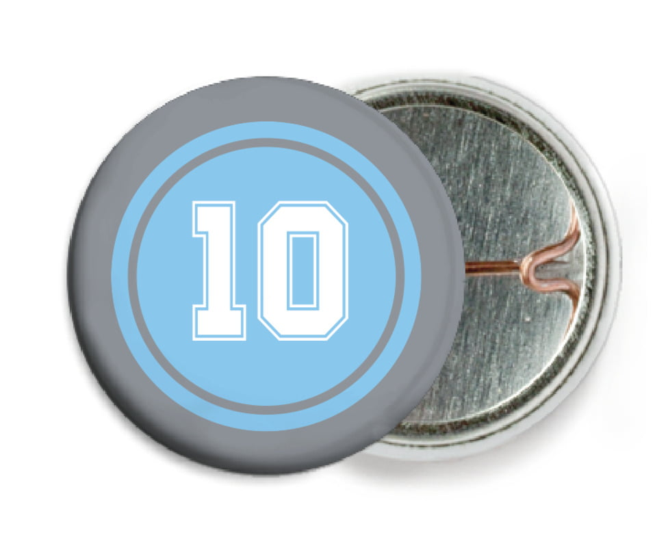 custom pin back buttons - light blue & silver - football (set of 6)