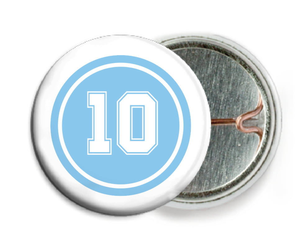 custom pin back buttons - light blue & white - football (set of 6)