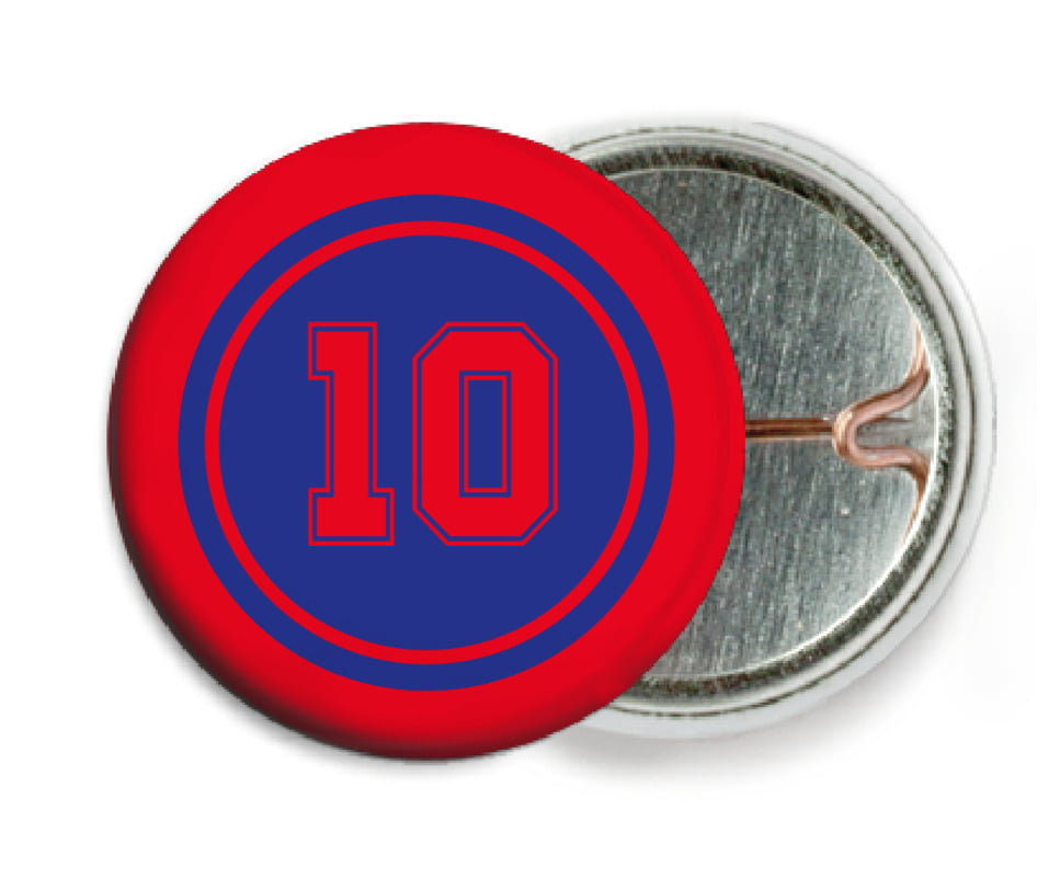 custom pin back buttons - royal & red - football (set of 6)
