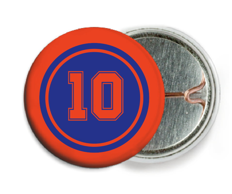 custom pin back buttons - royal & orange - football (set of 6)