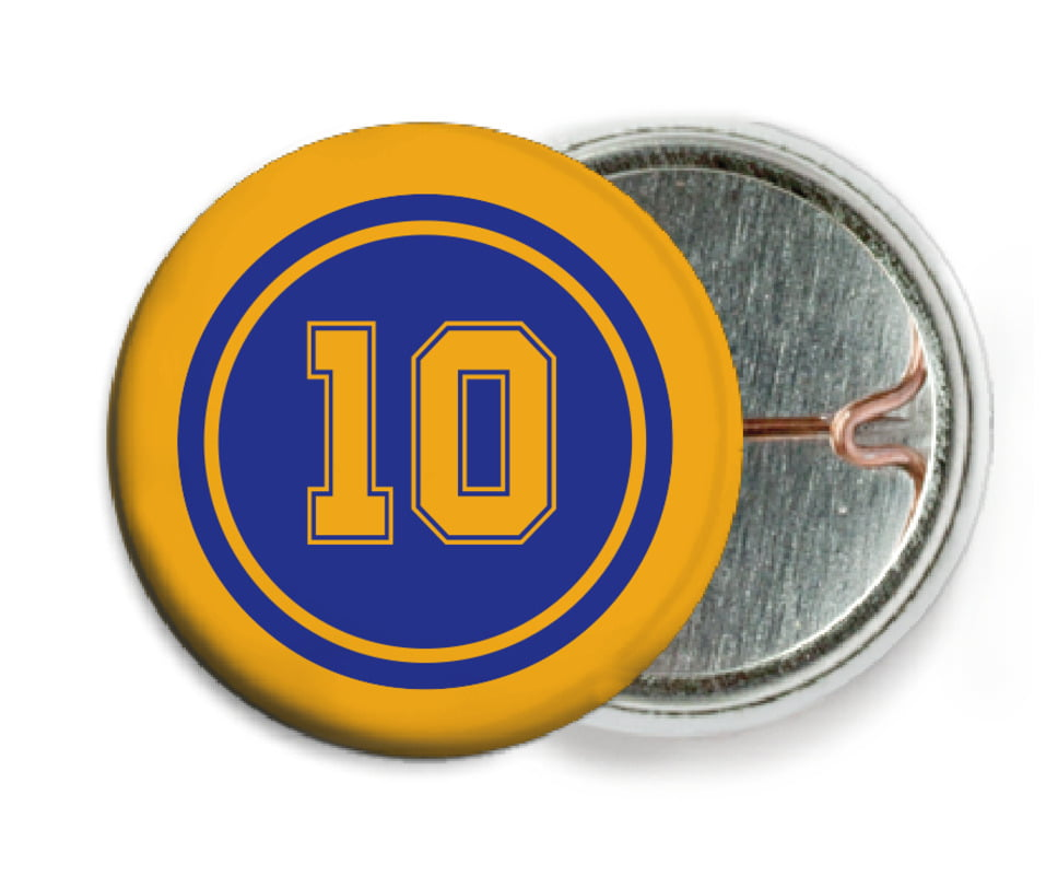 custom pin back buttons - royal & gold - football (set of 6)