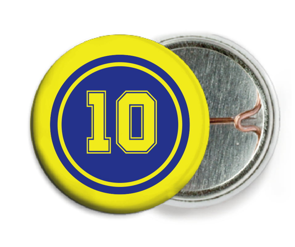 custom pin back buttons - royal & yellow - football (set of 6)