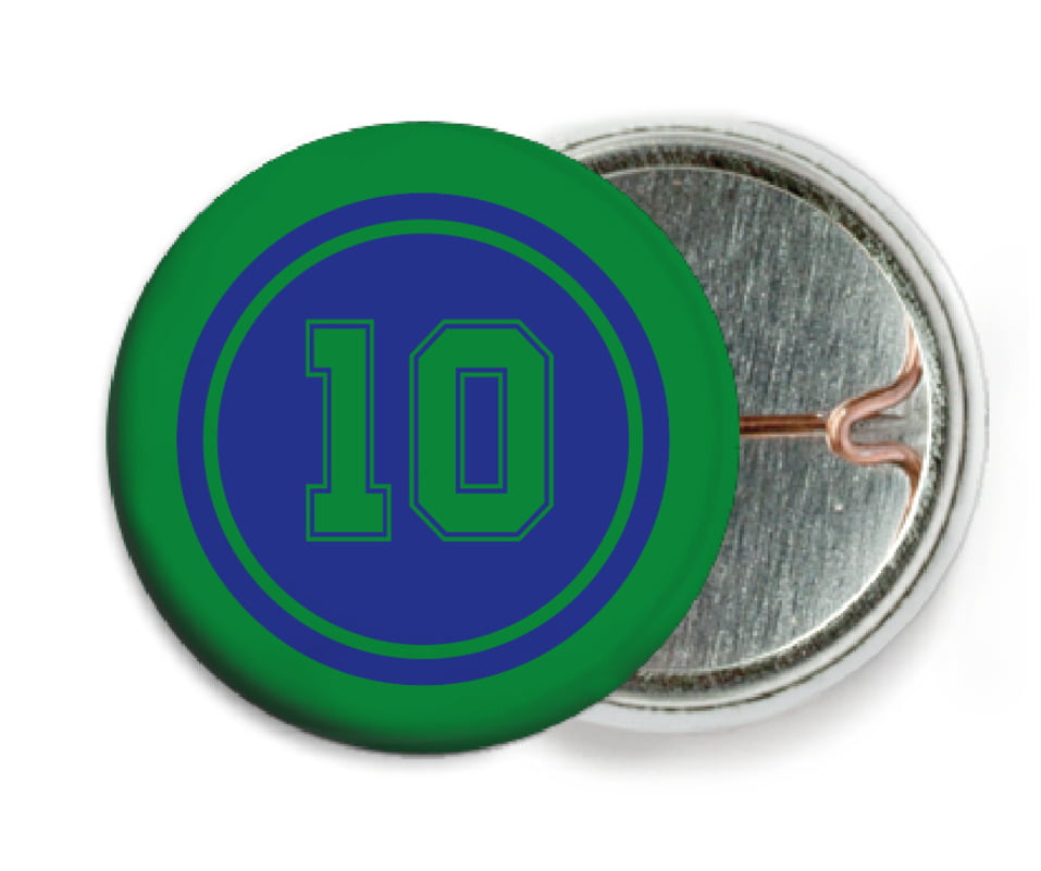 custom pin back buttons - royal & green - football (set of 6)