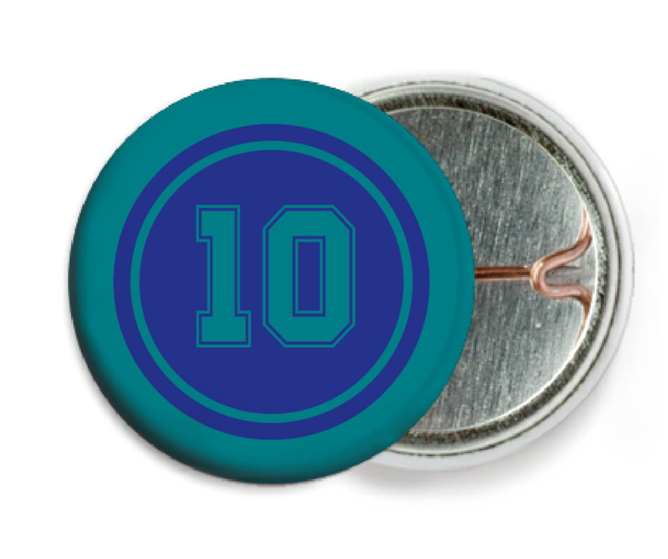 custom pin back buttons - royal & teal - football (set of 6)