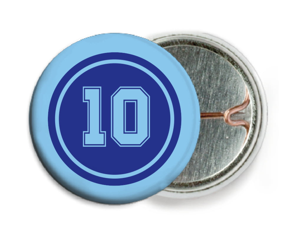 custom pin back buttons - royal & light blue - football (set of 6)