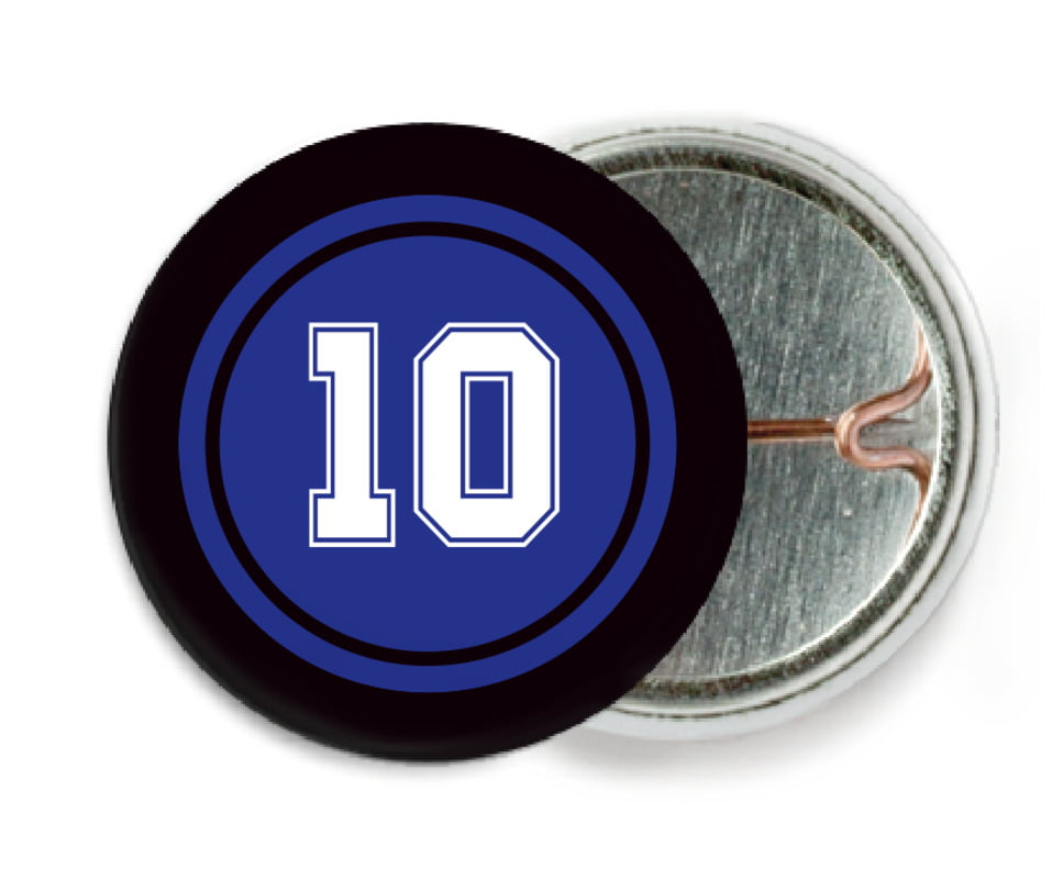 custom pin back buttons - royal & black - football (set of 6)