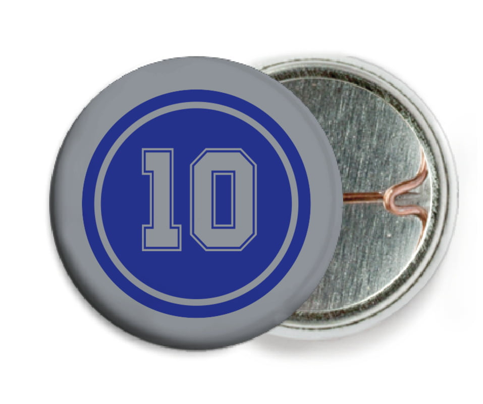 custom pin back buttons - royal & silver - football (set of 6)