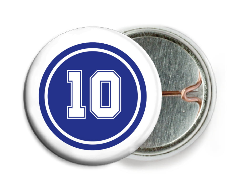 custom pin back buttons - royal & white - football (set of 6)
