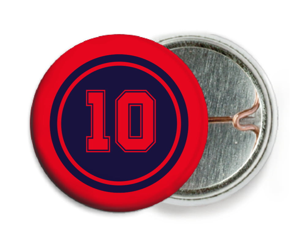custom pin back buttons - navy & red - football (set of 6)
