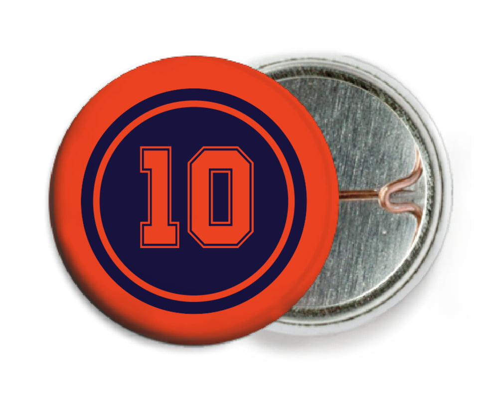 custom pin back buttons - navy & orange - football (set of 6)